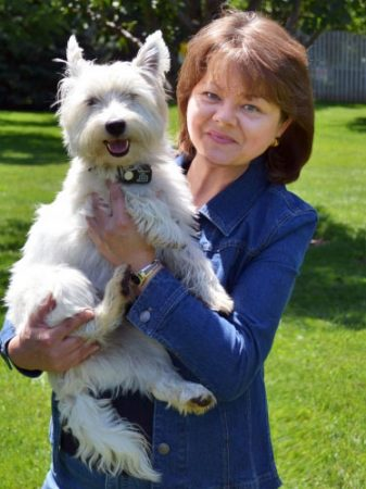 Author Alex Kava & her westie Maggie O'Dell   Ryder Creed series
